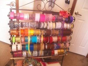 My Ribbon stash. I also stored my stamps in Pizza boxes in the closet but forgot to get a pic.
